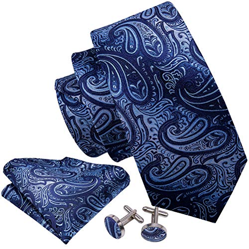 Barry.Wang Blue Paisley Ties Silk Necktie Set Handkerchief Cufflinks
