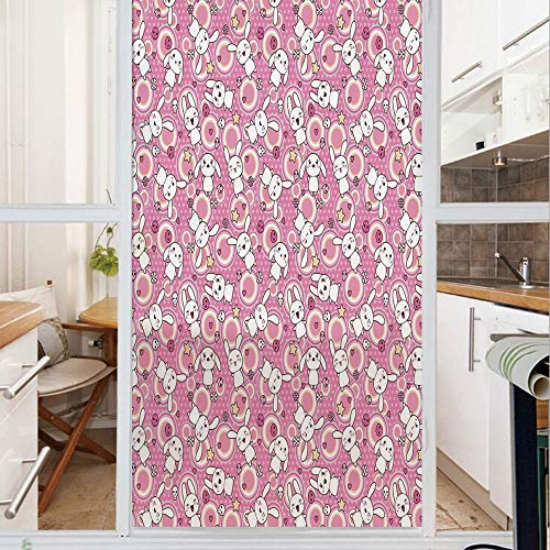 Decorative Window Film,No Glue Frosted Privacy Film,Stained Glass Door Film,Doodle Cute Kawaii Illustration Stars Hearts Bones Flower Girls Design Decorative,for Home & Office,23.6In. by 35.4In Pink P
