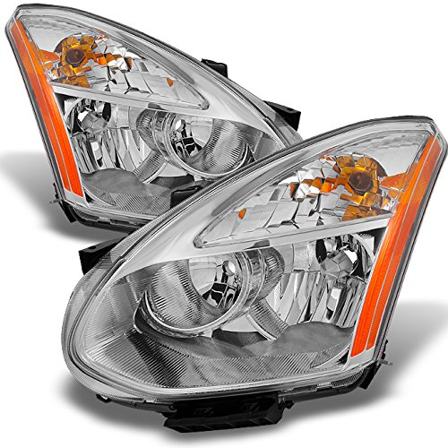 Fits 2008-2014 Rogue SUV Halogen Type Clear Headlights Driver Left + Passenger Right Side Replacement Pair Set