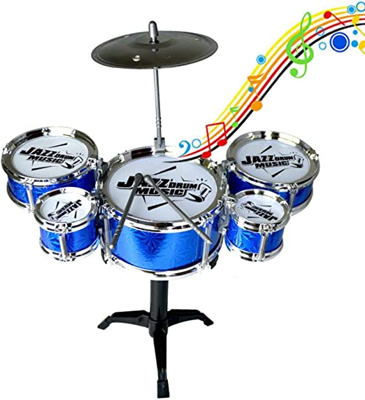 Walmeck Children Kids Jazz Drum Set Kit Musical Educational Instrument Toy 5 Drums 1 Cymbal with Small Stool Drum Sticks for Boys Girls