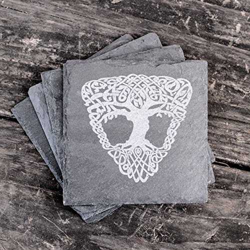 Celtic - Tree of Life - Slate Coasters - Set of 4 (Stoneware Life Country)
