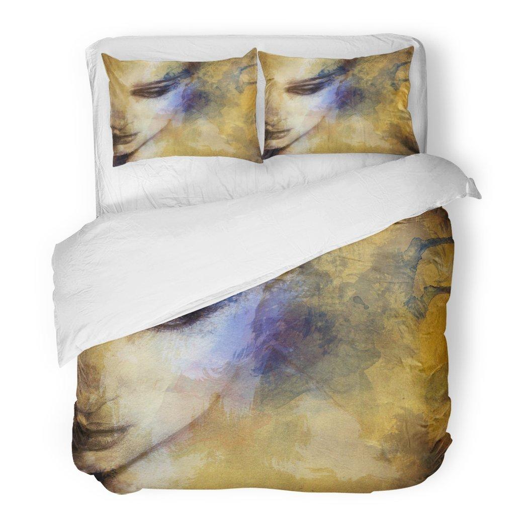 SanChic Duvet Cover Set Watercolor Abstract Woman Face Hand Blue Spa Artist Paint Beauty Girl Decorative Bedding Set Pillow Sham Twin Size