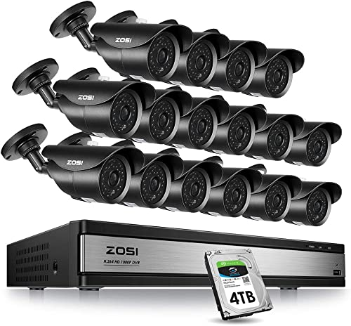 ZOSI 16Channel 1080P HD Security Cameras System,16CH 4-in-1 1080P HD-TVI DVR