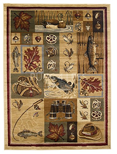Rugs 4 Less Collection Outdoors in the Wilderness Fishing Themed Area Rug R4L 755 (7'7''X10'6'') by Wilderness