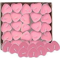 Leisial Lot de 50 petites bougies décoratives en forme de cœur Sans fumée Blanc