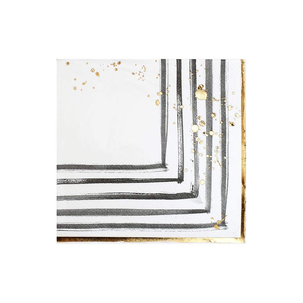 Black and White w Gold Brush Strokes Cocktail Paper Napkins - Birthday, Wedding, Showers Party Napkins - Harlow & Grey Rebelle (20 Count)