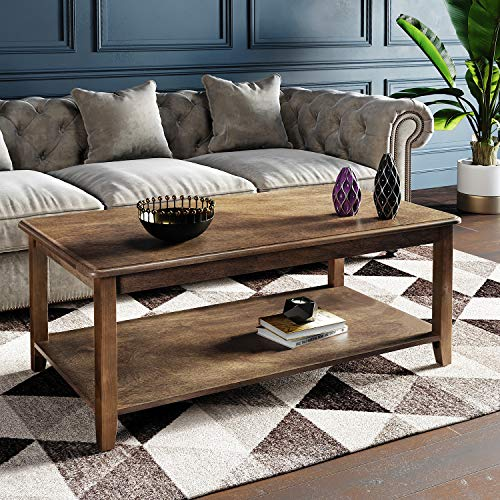 VASAGLE Large Coffee Table with Real Wood Legs, Simple Rustic Cocktail Table with Storage Shelf, Easy Assembly, for Living Room Office, Wood Grain Dark Walnut ULCT05CB