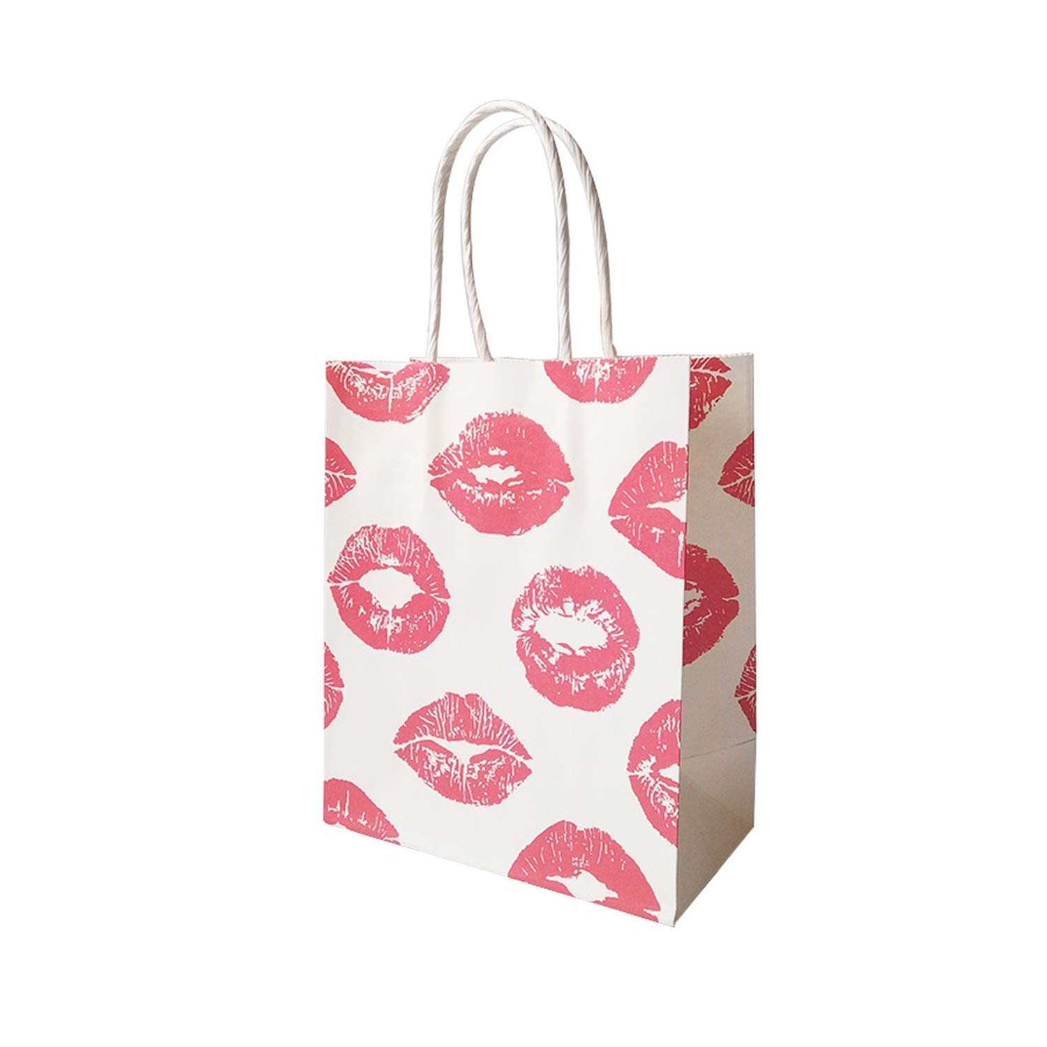 50 Pcs/lot 15x18cm Cosmetic Pattern Printing Paper Bags with Handle Gift Bags Party Favor Wedding Packaging Storage Bags,Lips