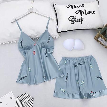JIAXINJIE - Conjunto de pijama de fresa azul para mujer, 2 ...