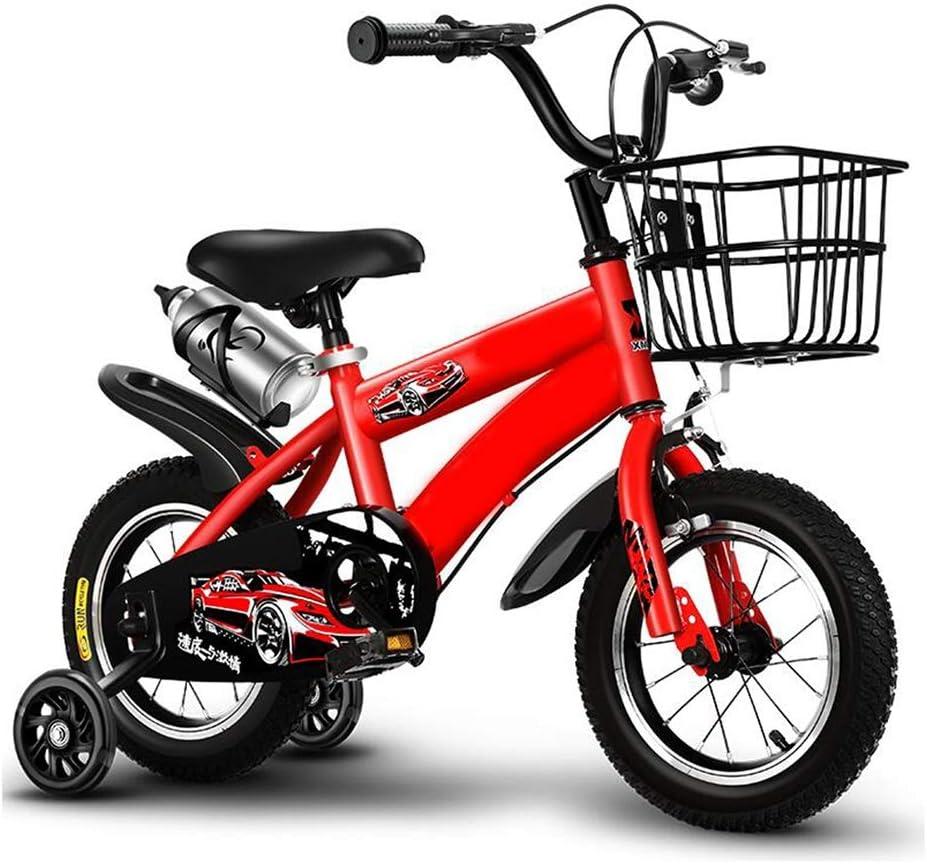 YUMEIGE Bicicletas Bicicletas, 12, 14,16,18inch, Marco de Acero al Carbono, Bicicleta para niña Bicicleta, con Ruedas de Entrenamiento y hervidor de Agua,Bicicleta Infantil, Regalos 2-9 años Los ni