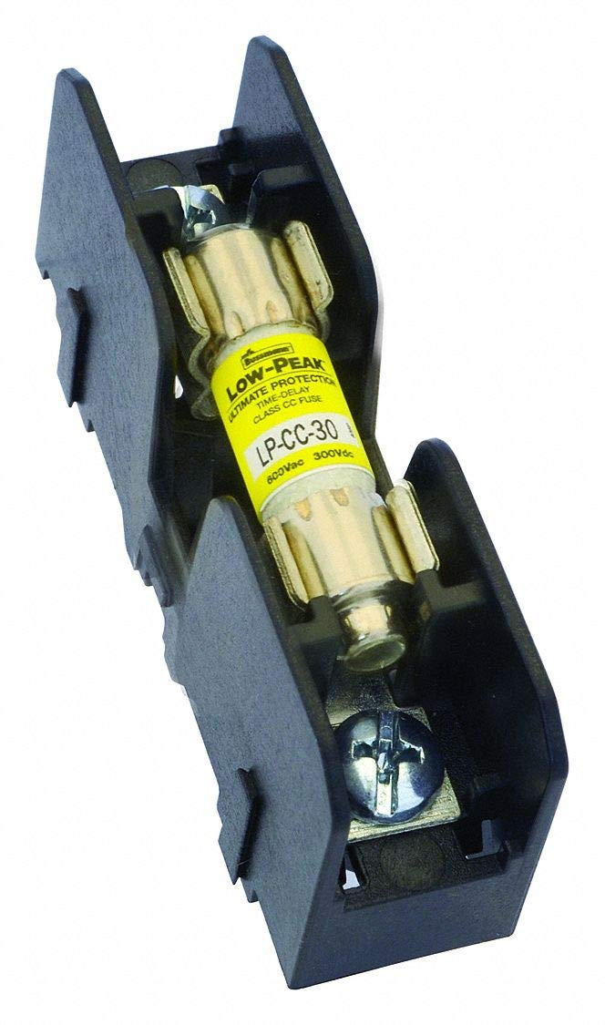 1-Pole Class CC Fuse Block, AC: 600VAC, DC: 600VDC, 0 to 30A, Series FNQ-R, KTK-R, LP-CC