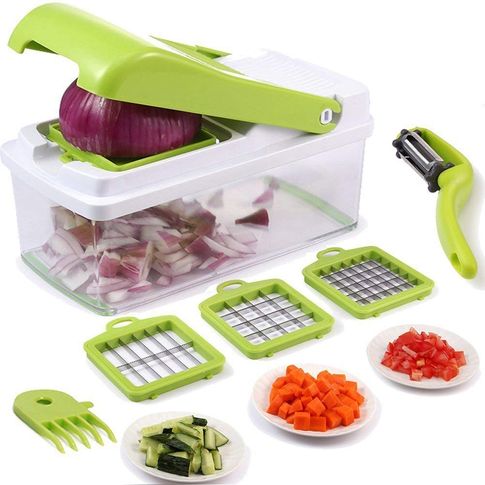 Onion Chopper Pro Vegetable Chopper Slicer Dicer Cutter & Grater -3 Interchangeable Stainless Steel BladesHeavy Duty Multi Fruit Cheese Dicer Kitchen Cutter