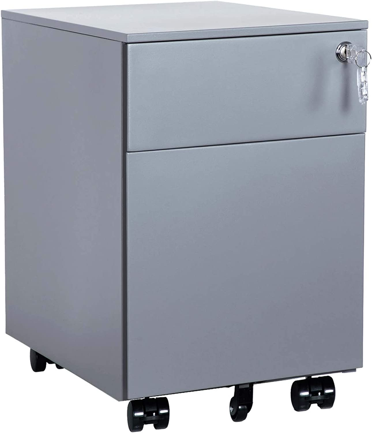 AIMEZO 2-Drawer Mobile File Cabinet Under Desk Storage for Home Office, Fully Assembled Silver