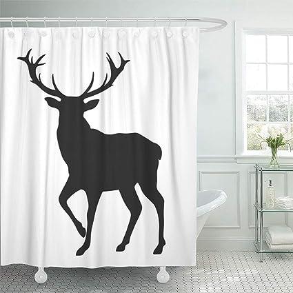 Emvency 72quotx78quot Shower Curtain Bathroom Waterproof Deer Black Silhouette Of The Buck On