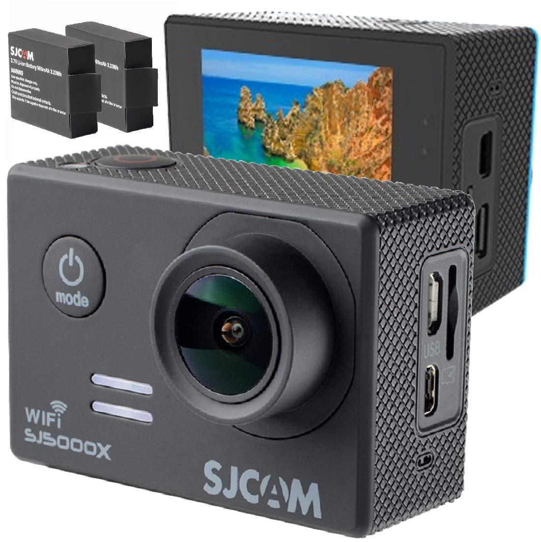 アクションカメラ 4K SONY製センサー 手振れ補正 追加バッテリー 日本語 ガイド SJ5000X 4K動画 超小型 大画面 2インチ ウェアラブルカメラアクションカム スポーツカメラ(ブラック) B07GW6DCFR  ブラック SJ5000X 4K WIFI