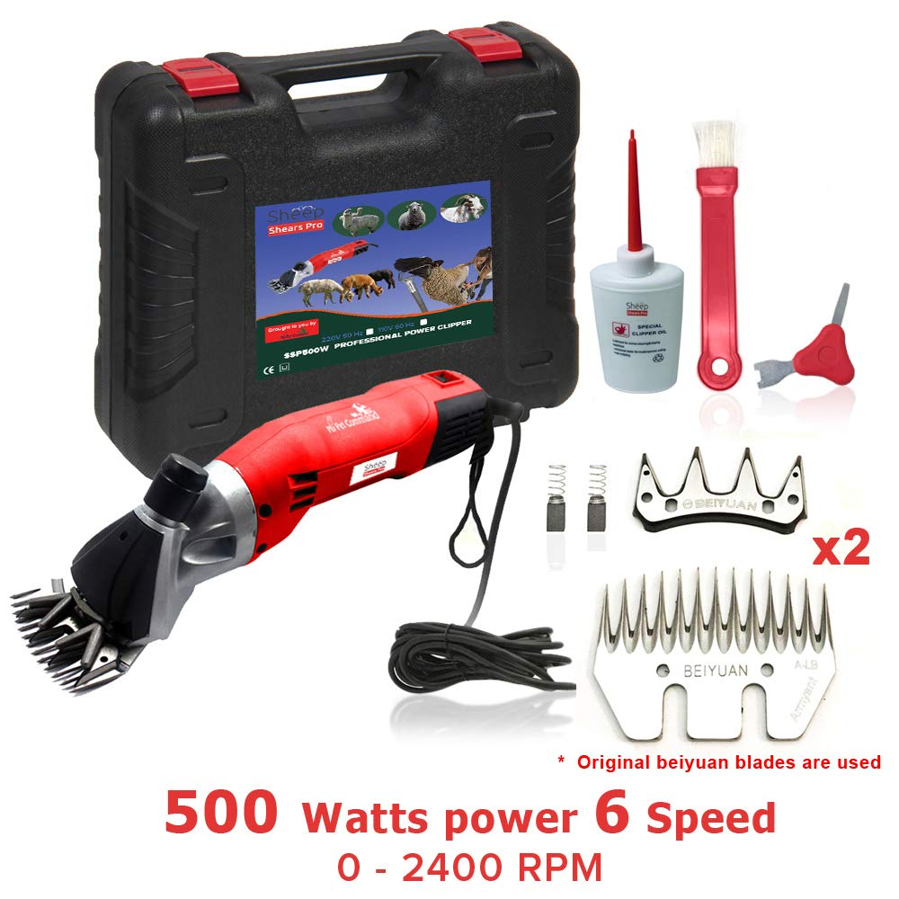 Sheep Shears Pro 110V 500W Professional Heavy Duty Electric Shearing Clippers with 6 Speed, for Shaving Fur Wool in Sheep, Goats, Cattle, and Other Farm Livestock Pet, with Grooming Carrying Case CE by Sheep Shears Pro
