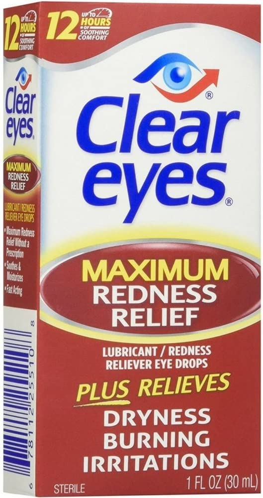 Clear Eyes | Maximum Redness Relief Eye Drops | 1 FL OZ | Pack of 3