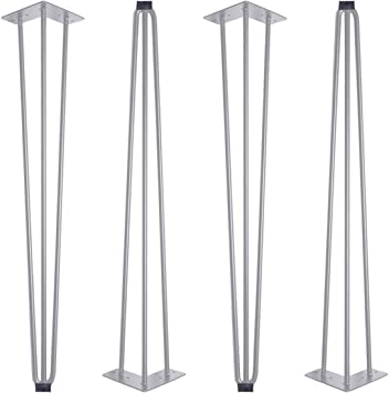 Hairpin Legs - Patas de mesa metálicas de 71 cm, juego de 4 patines de mesa, estructura de acero para escritorio, mesa de comedor, mesa de trabajo, Plateado, SLM0075: Amazon.es: Bricolaje y herramientas