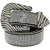 bling cowgirl belts - Womens Zebra Rhinestone Bling Bling Western Cowgirl Belt - Black (38)