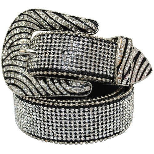 3 Piece Leather Concho Belt (Womens Zebra Rhinestone Bling Bling Western Cowgirl Belt - Black)