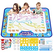Jasonwell Aqua Magic Doodle Mat 40 X 32 Inches Extra Large Water Drawing Doodling Mat Coloring Mat Educational Toys Gifts for Kids Toddlers Boys Girls Age 2 3 4 5 6 7 8 Year Old