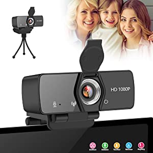 1080P HD Webcam,Mini PC Web Camera with Microphone,USB Computer Camera with Privacy Cover & Tripod,Desktop Laptop Video Web Cam Stream Webcam for Video Calling Recording Conferencing Steaming