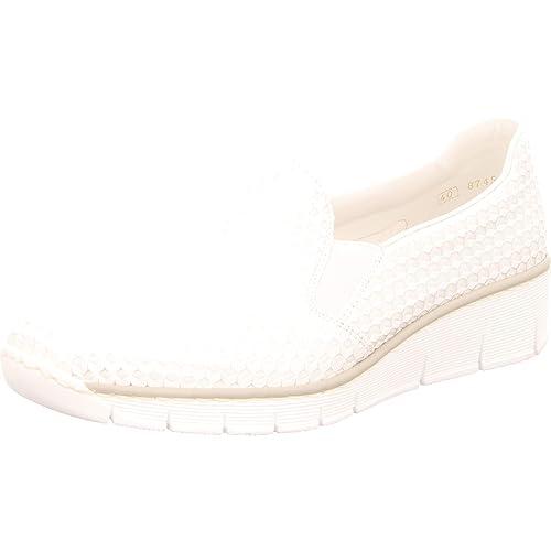 Rieker Damen Slipper 53766 81 weiß 431269: : Schuhe