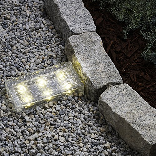 8x4 Solar Brick Landscape Light, 6 Warm White LEDs, Textured Glass Rectangle Paver, Waterproof, Outdoor Use, No Wires Easy to Install - Rechargeable Battery Included