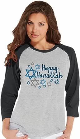 7 at 9 Apparel Women's Happy Hanukkah Raglan Tee