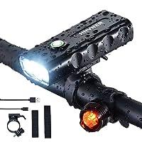 Fietslamp, Super Heldere 2400 Lumen Voorkoplamp, IPX5 Waterdicht, 3 LED fietsverlichting, 3 Modes Fietslampen, Voor alle…