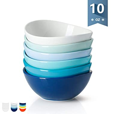 Sweese 1121 Porcelain Bowls - 10 Ounce for Ice Cream Dessert, Small Side Dishes - Set of 6, Cold Assorted Colors