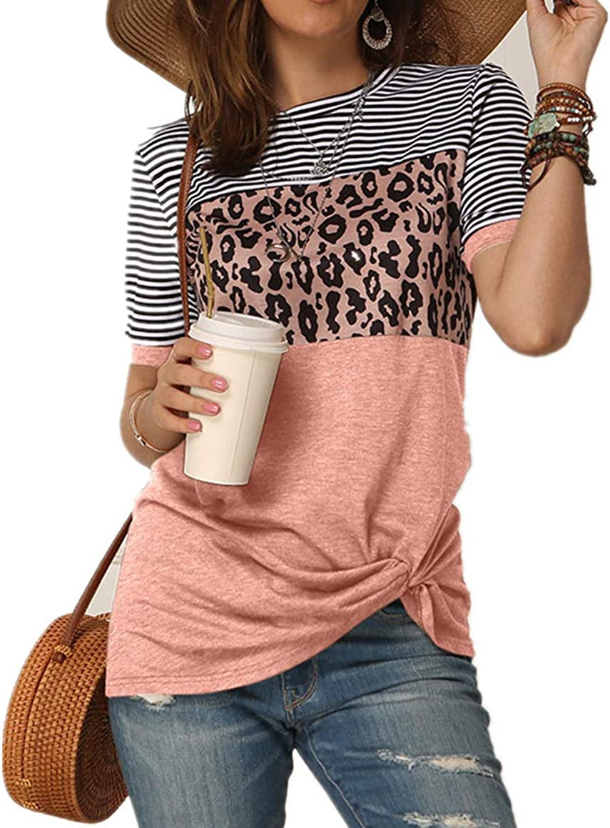 Women's Summer Casual Short Sleeve Shirts Leopard Print Stripe Twist Knot Color Block Tunic T Shirt Tops