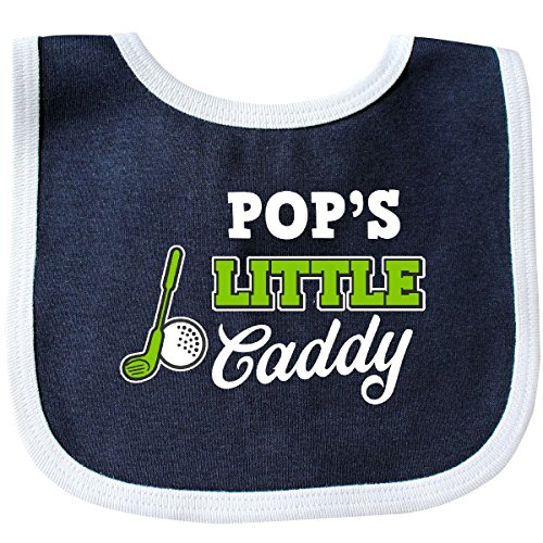 Inktastic - Pops Little Caddy with Golf Club and Ball with Baby Bib Navy/White (Pop Outfits)