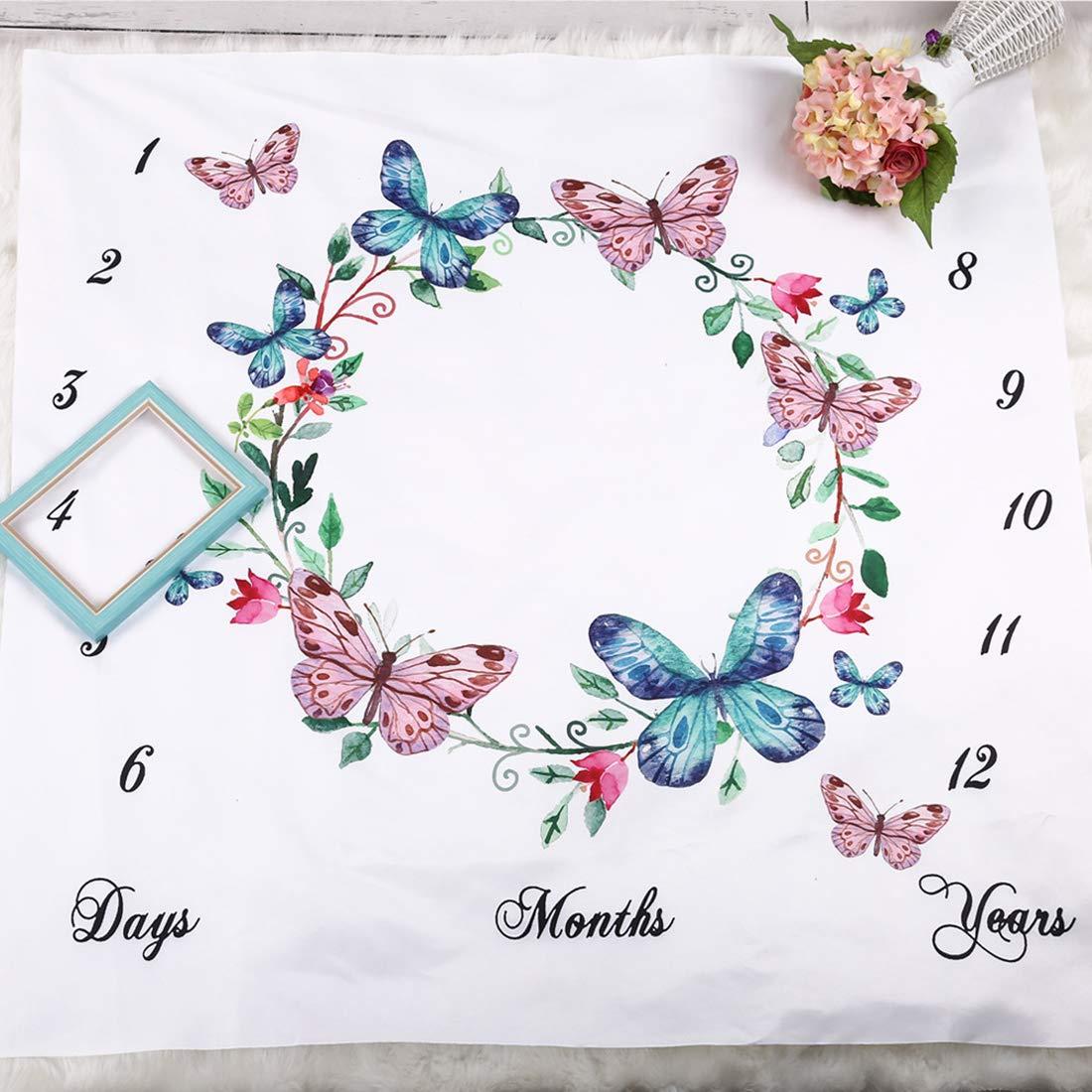A mit monatlichem Meilenstein-Druckmuster Blumenmotiv blume JMITHA Fotohintergrund-Decke f/ür Babyfotos