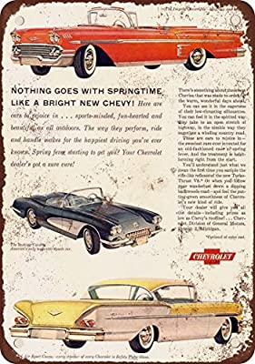 1958 Chevrolet Impala Bel Air Corvette Vintage Look Reproduction Metal Tin Sign 12X18 Inches