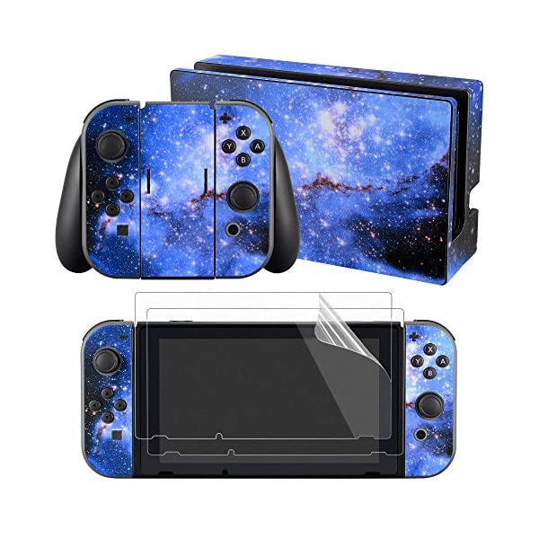 eXtremeRate Full Set Faceplate Skin Decal Stickers for Nintendo Switch with 2Pcs Screen Protector (Console & Joy-con & Dock & Grip) -Blue Galaxy 1
