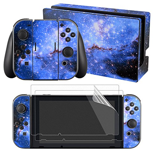 eXtremeRate Full Set Faceplate Skin Decal Stickers for Nintendo Switch with 2Pcs Screen Protector (Console & Joy-con & Dock & Grip) -Blue Galaxy