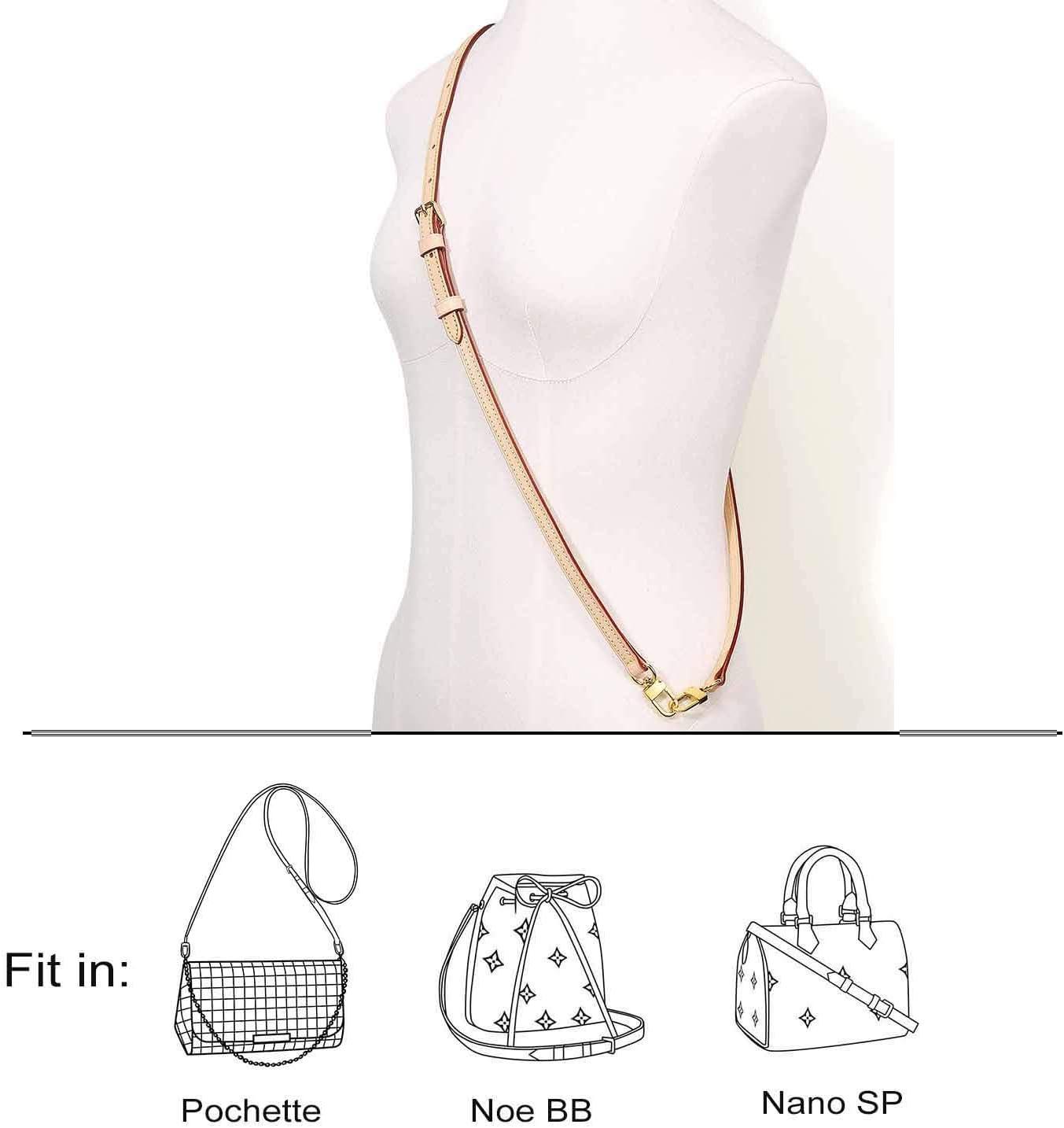 Cross Body Strap for Small Bag Alma Pochette Eva Favorite PM MM Messenger Bag Coated Black with Gold Hardware Black 43 inch Gold HW