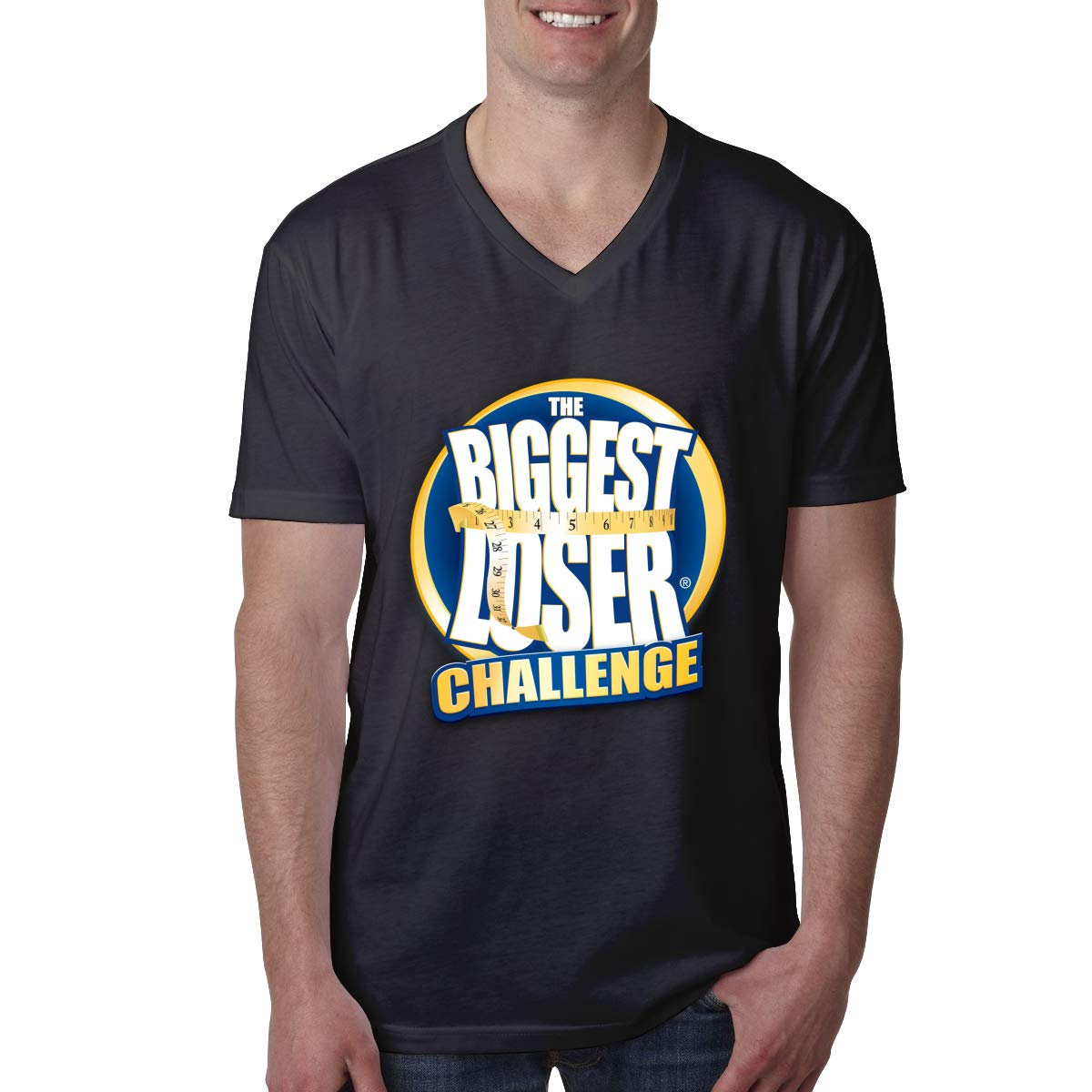 RUFUG Biggest Loser T-Shirt Mens Short Sleeve V Neck T Shirts Hipster Tees S-XXL