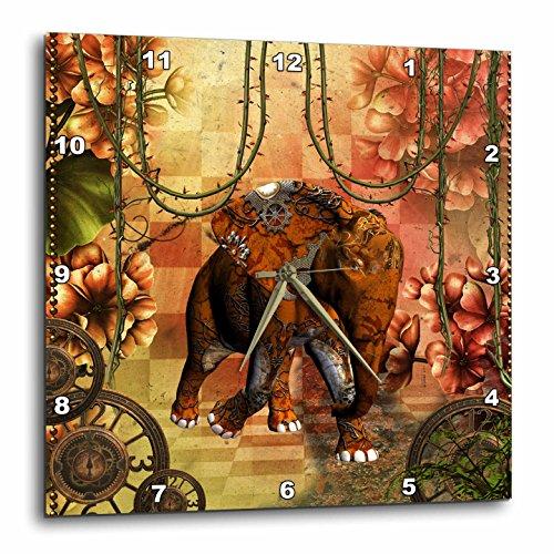 3dRose Heike Köhnen Design Steampunk – Steampunk, steampunk elephant in a jungle – Wall Clocks