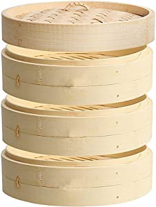 JTKDL 3 Tier Bamboo Steamer Basket Set with Lid Healthy Cooking Suitable for Dumplings Buns Vegetables Chicken and Fish Food Steamer 24cm