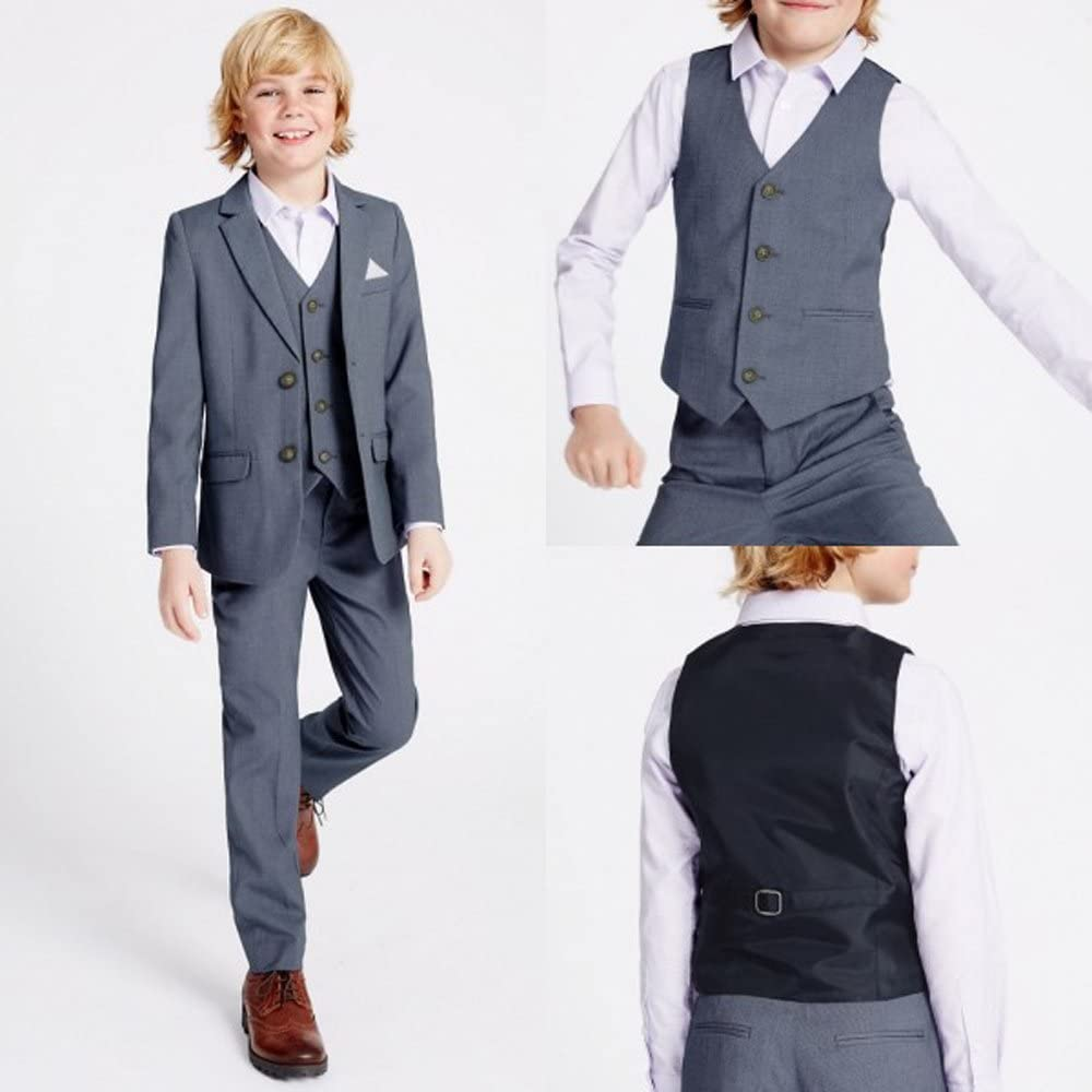 Kelaixiang Classic 3 Piece Formal Boys Suits Set Slim Fit Boy Suit Jacket Pants Vest