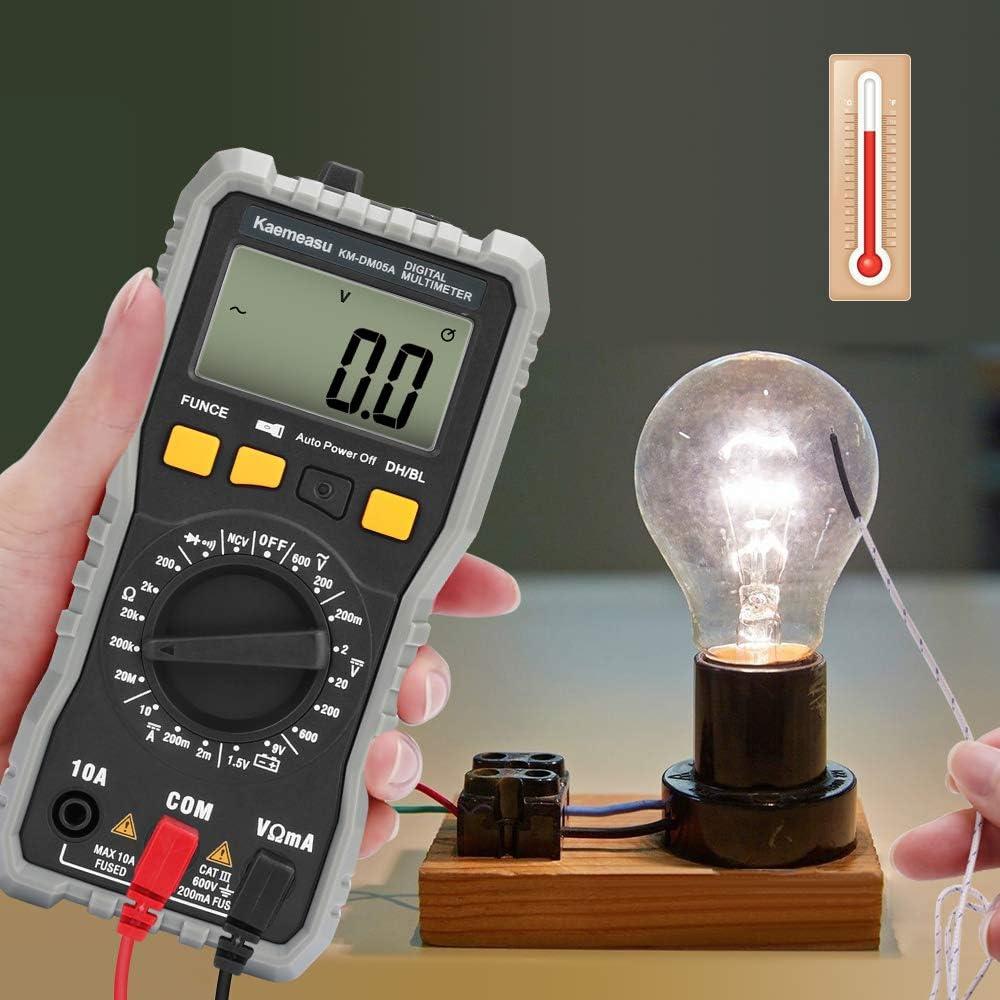 mult/ímetro de recuento TRMS 2000 Manual y rango autom/ático para medidas Voltaje CA CC Resistencia Corriente Diodos de continuidad Retenci/ón de datos Luz de fondo Linterna Mult/ímetro digital CestMall