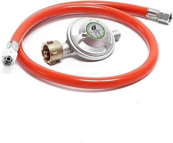 Reductor de presión de gas a 50mbar con manguera de propano 80cm, para bombonas con 21,8x1,14L