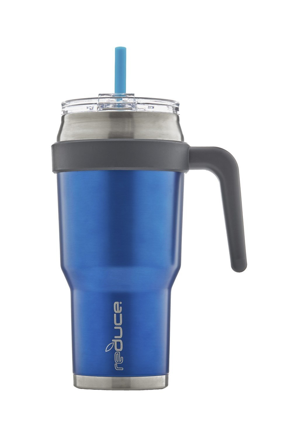 REDUCE COLD-1 Outdoor Extra Large Vacuum Insulated Thermal Mug with Slender Base, 3-in-1 Lid and Ergonomic Handle, 40oz - Tasteless and Odorless Powder Coat (Blue) - Great for Home and Travel