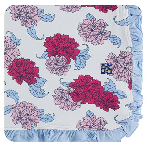 KicKee Pants Little Girls Print Ruffle Toddler Blanket - Natural Peony, One Size (Peony Apparel)