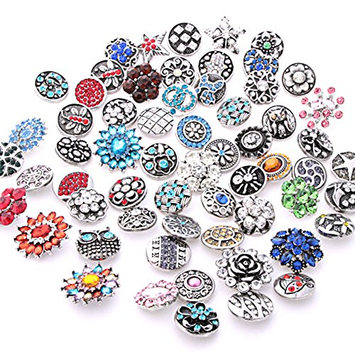 Ginooars 10PCs Mixed Style Rhinestones Snaps Buttons 18/20mm for Interchangeable Snaps Jewelry]()
