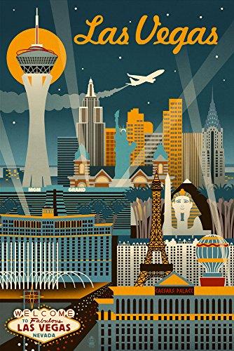 Las Vegas, Nevada - Retro Skyline (12x18 Art Print, Wall Decor Travel Poster)