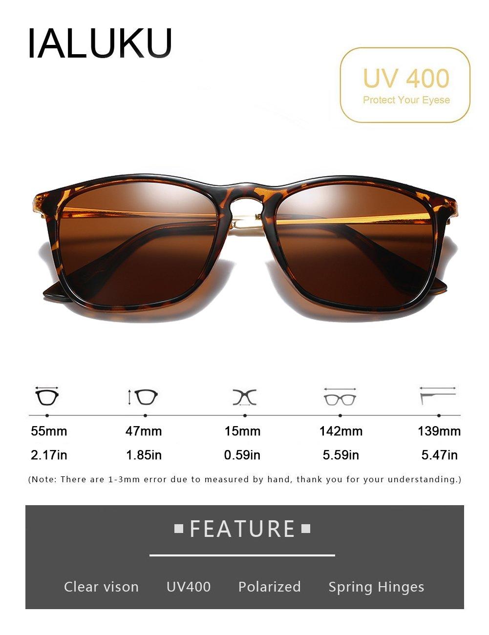 IALUKU Wayfarer Sunglasses Polarized Square Frame UV400 Protection Retro Style for Women Men (Tortoise, 55)