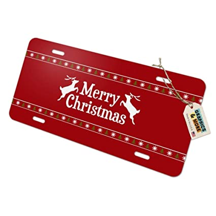 Graphics and More Merry Christmas Holiday Reindeer Novelty Metal Vanity Tag License Plate